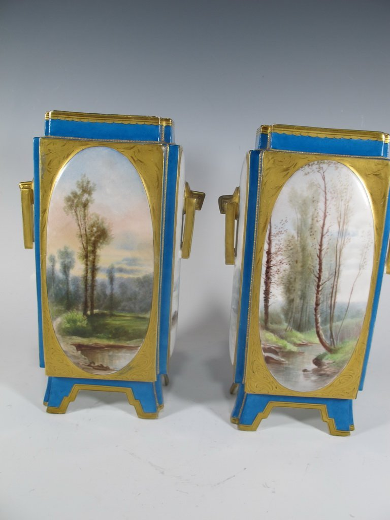 Antique Sevres quality pair of French porcelain vases - 2