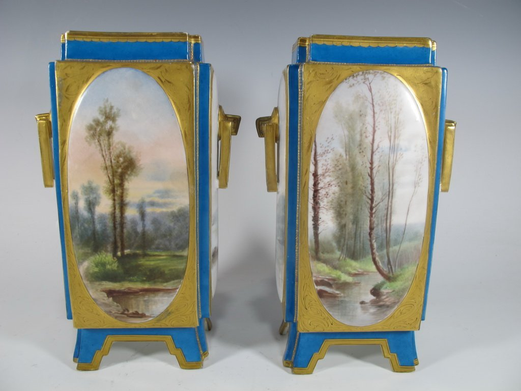 Antique Sevres quality pair of French porcelain vases - 3