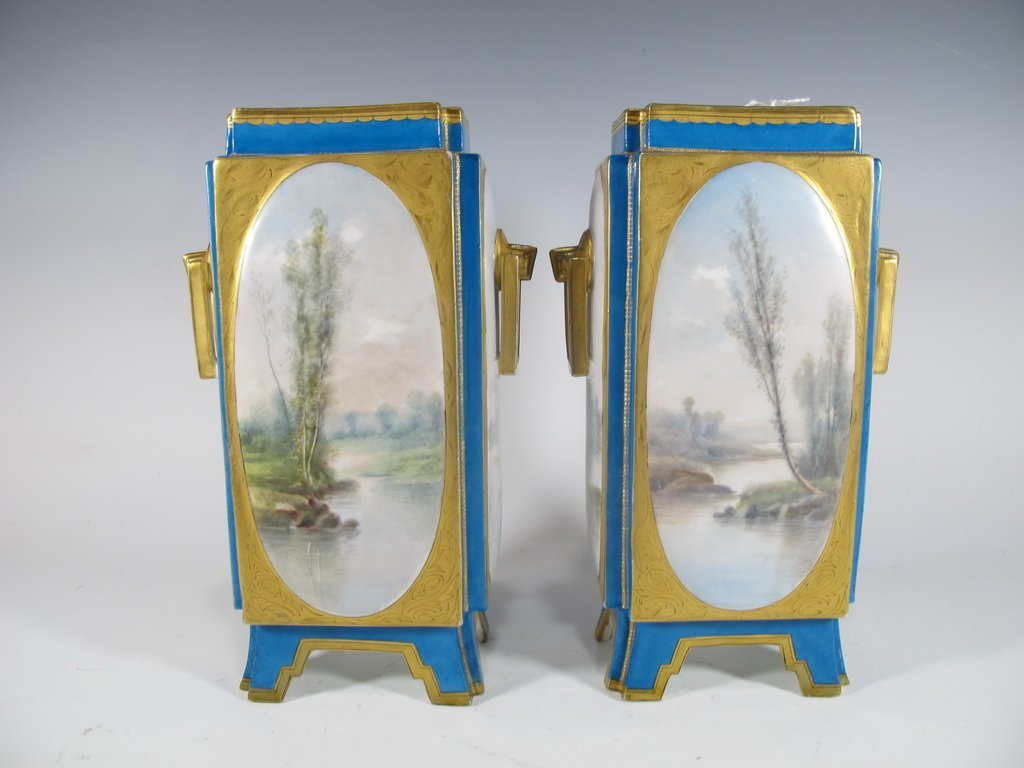 Antique Sevres quality pair of French porcelain vases - 5