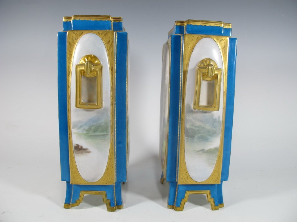 Antique Sevres quality pair of French porcelain vases - 6