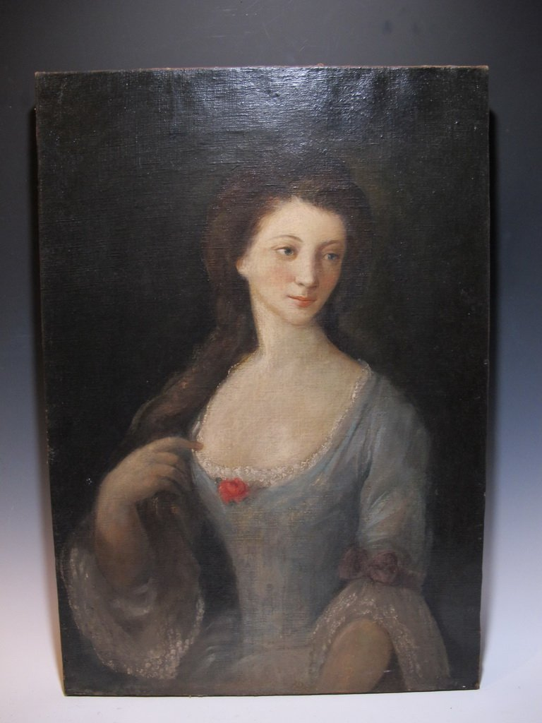 19th C French school oil on canvas painting, circa 1850