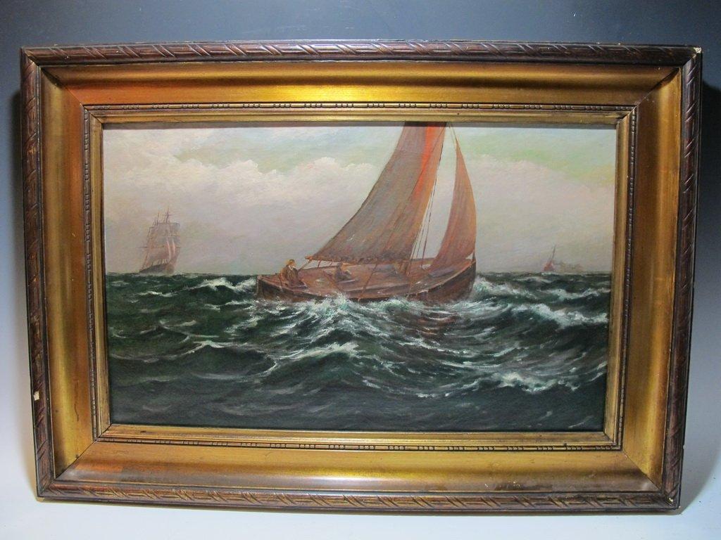Antique European oil on canvas painting, circa 1900