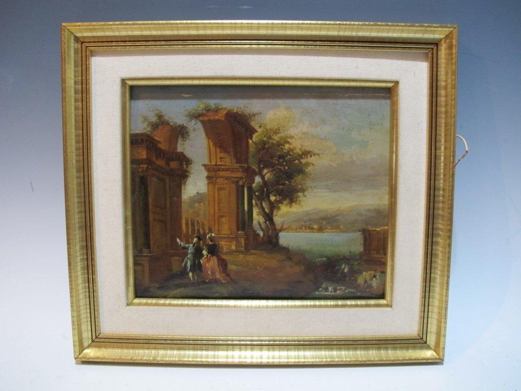 Late 19th C European oil on wood painting