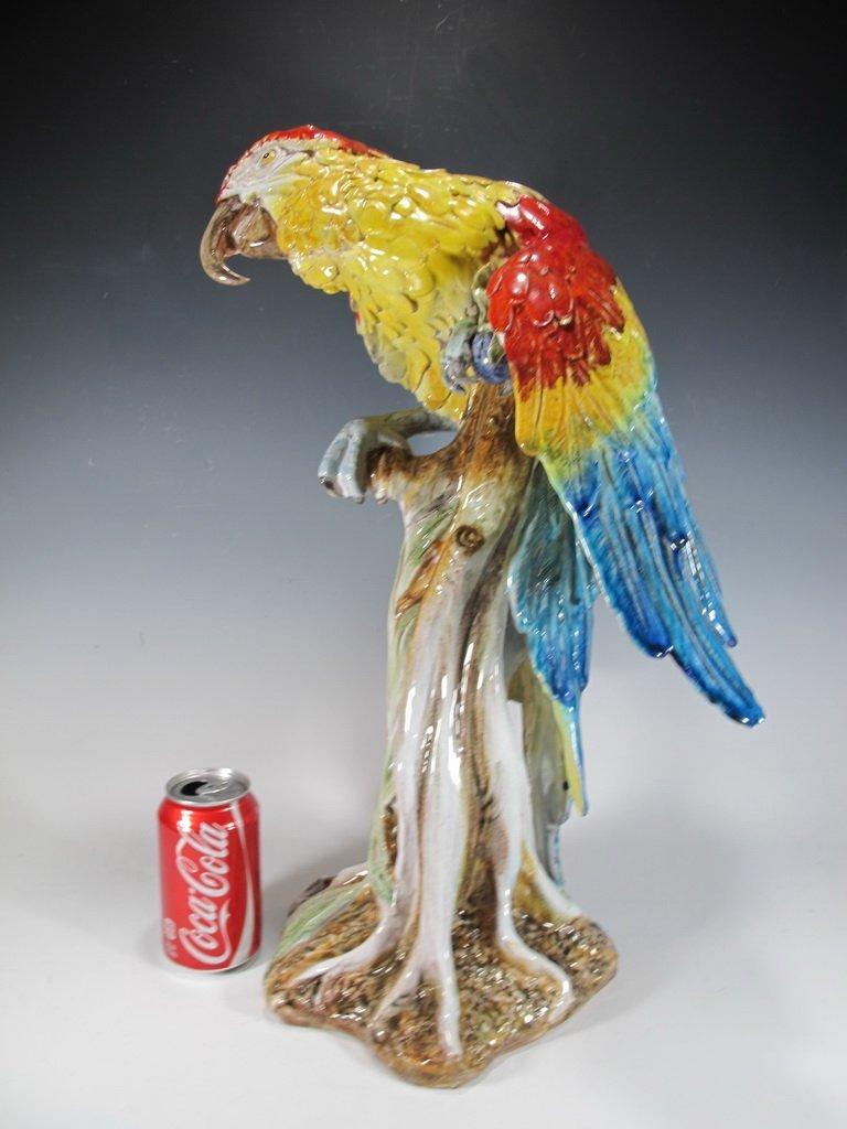 Antique European ceramic parrot statue