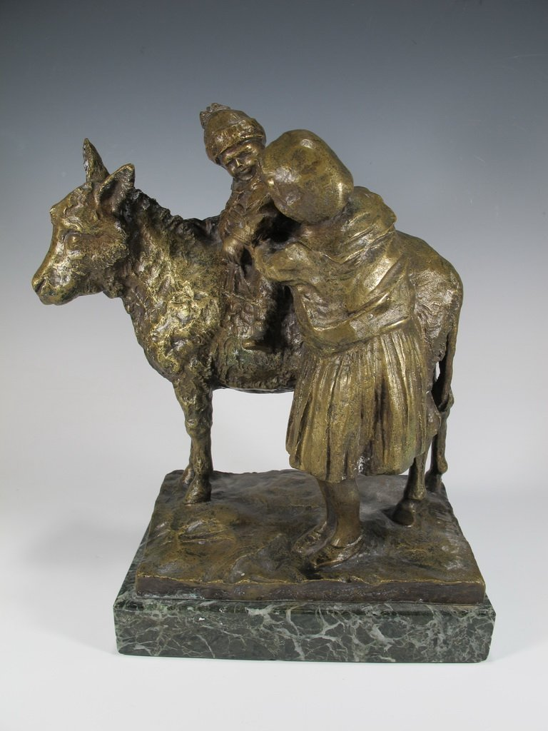 Old Italian Bronze Figure of Mother & Child