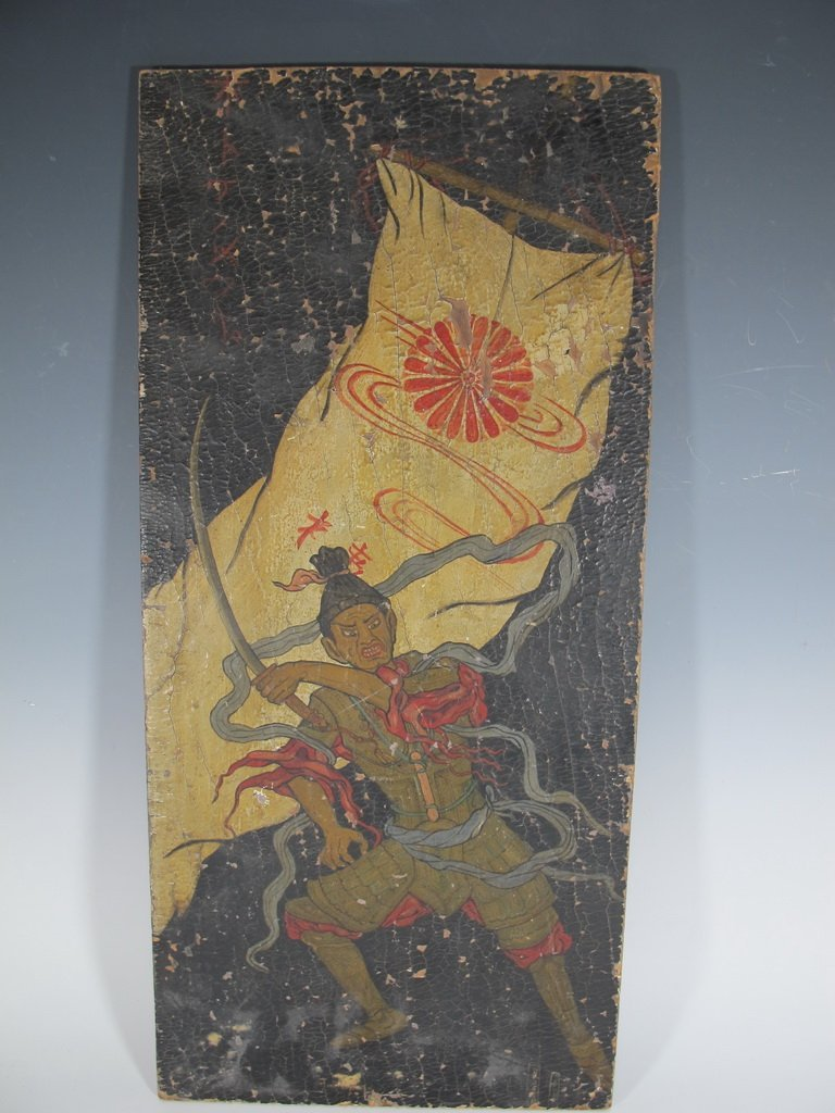 Antique oil on wood Japanese painting