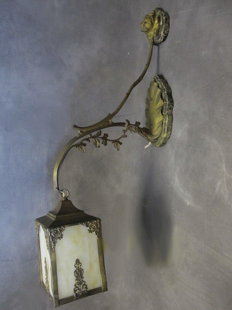 Antique American bronze & glass wall lamp