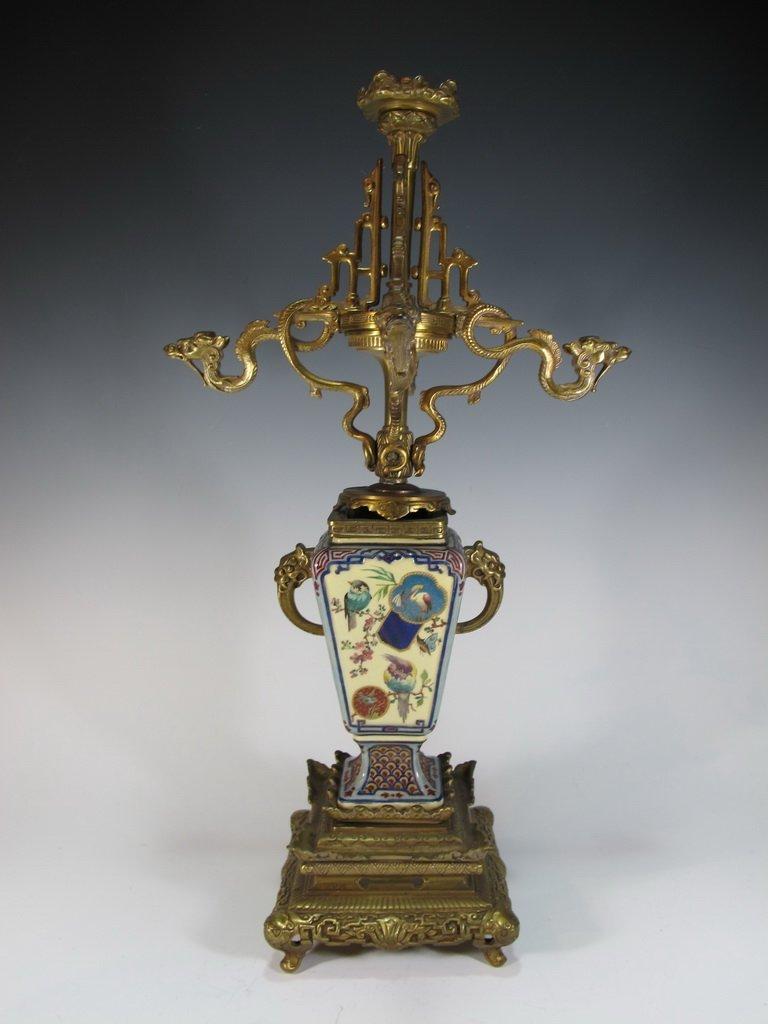 Antique Orientalist bronze & porcelain candlestick