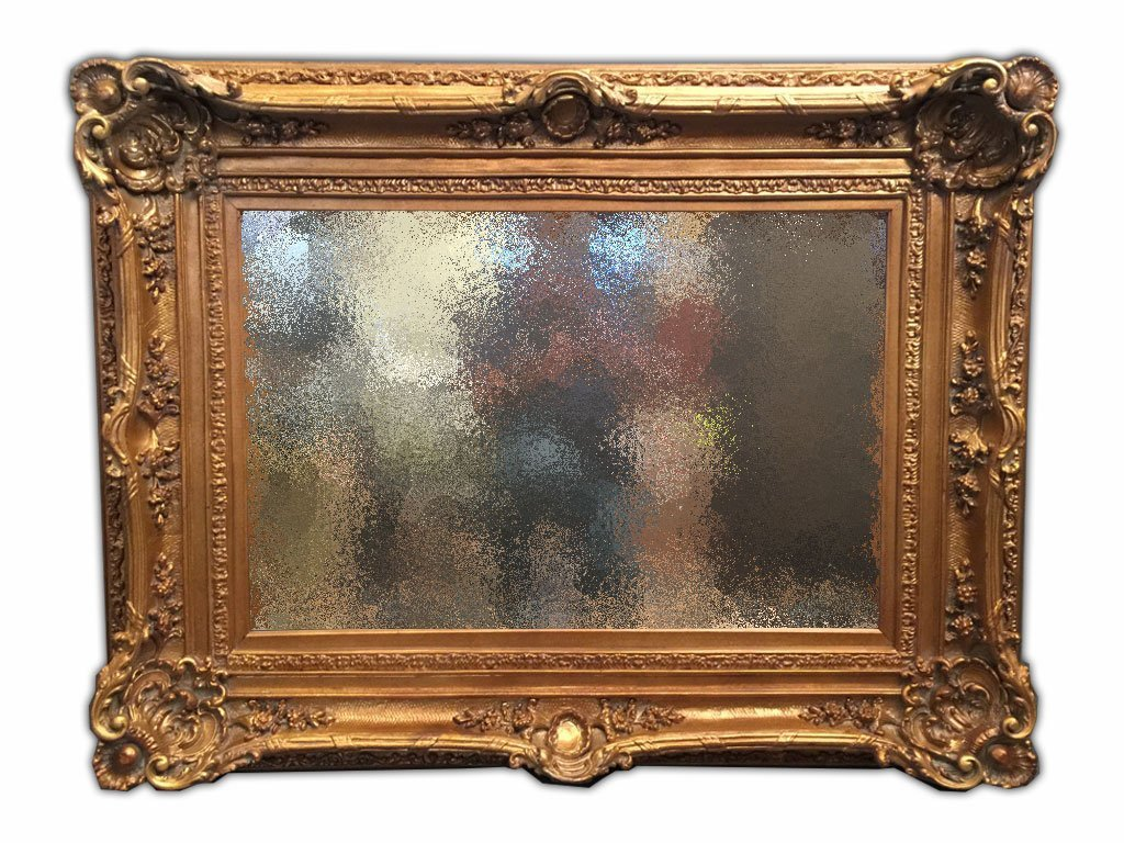 French Style Carved Gilt Walnut Framed Mirror
