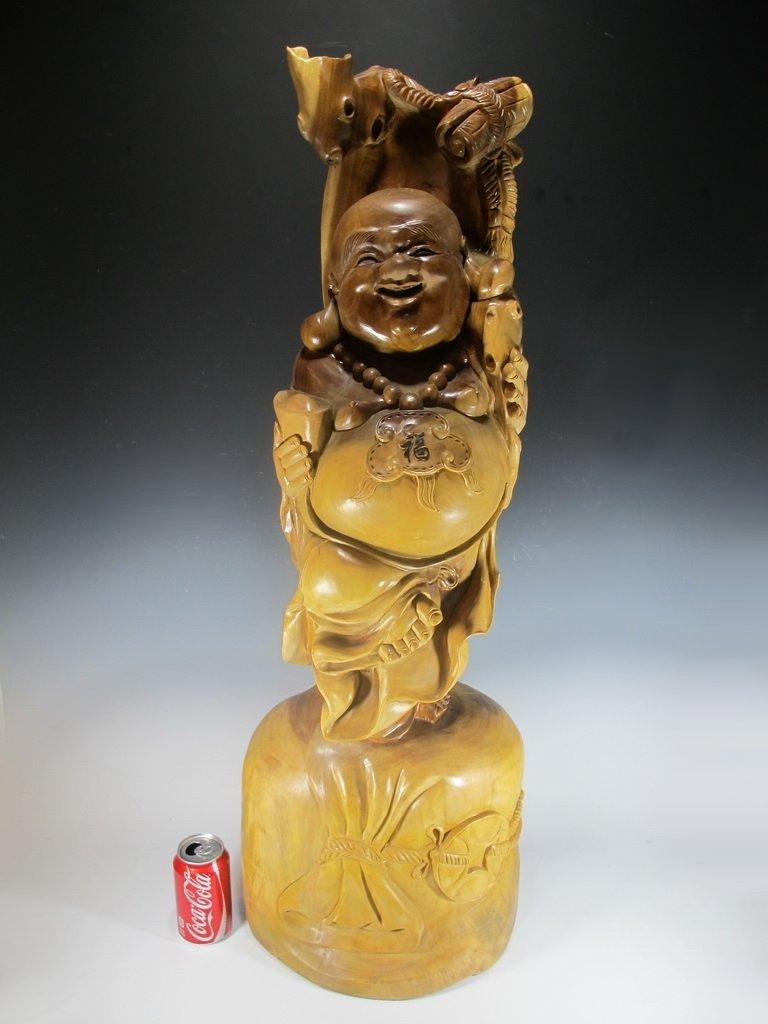 Huge Antique Chinese wood Buddha statue