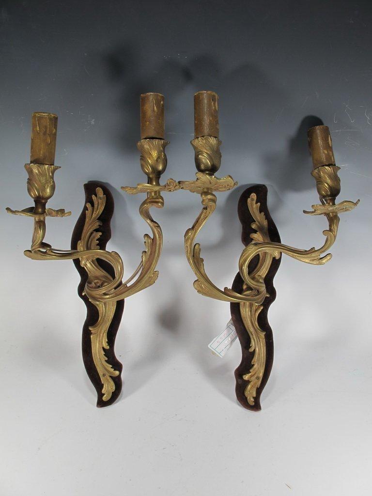 Antique French pair of bronze & velvet sconces