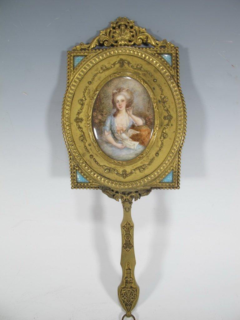 Antique French bronze & enamel handle mirror