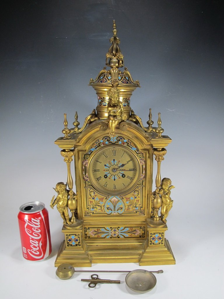 Antique French bronze & champleve clock