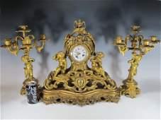 19th C French gilt bronze clock set
