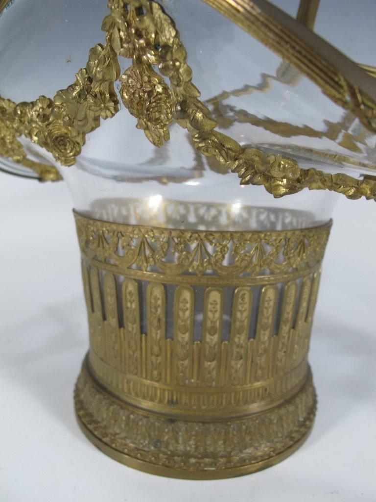 Antique French bronze & glass basket - 3