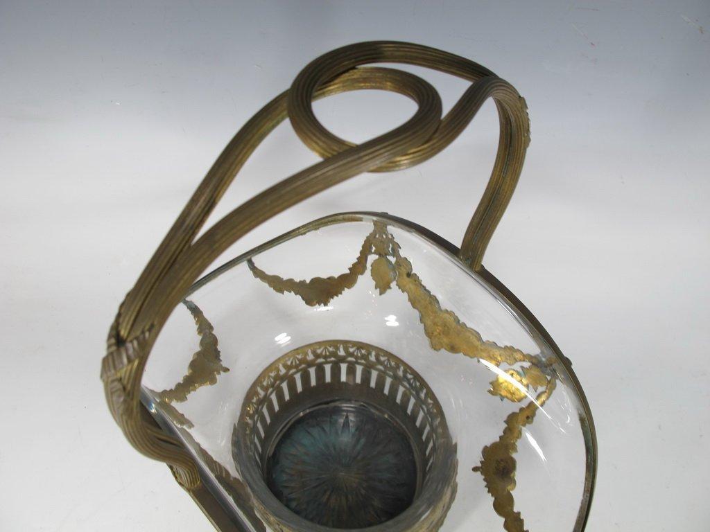 Antique French bronze & glass basket - 4