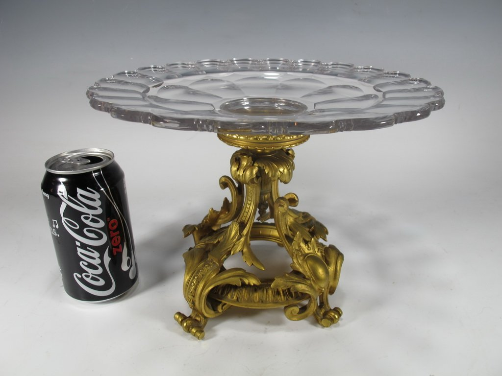 Antique French bronze & glass centerpiece