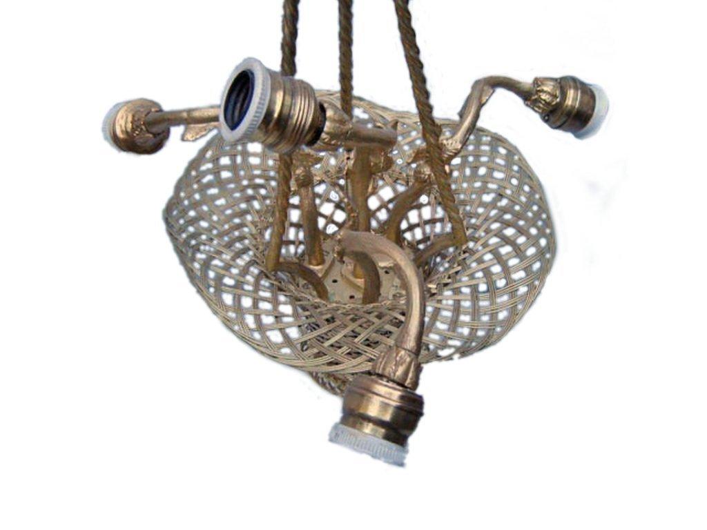 Antique French gilt bronze chandelier - 4