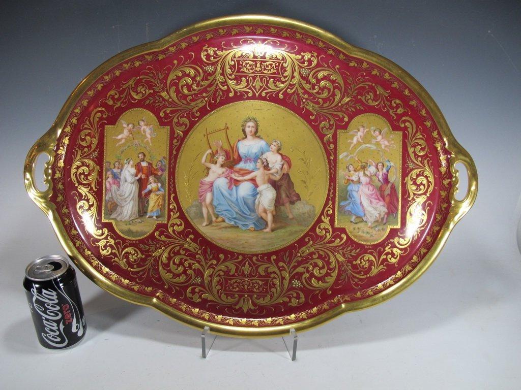 Antique huge Old Vienna porcelain tray