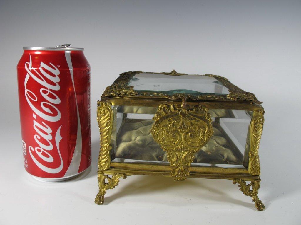 Antique French gilt bronze & bevelled glass box