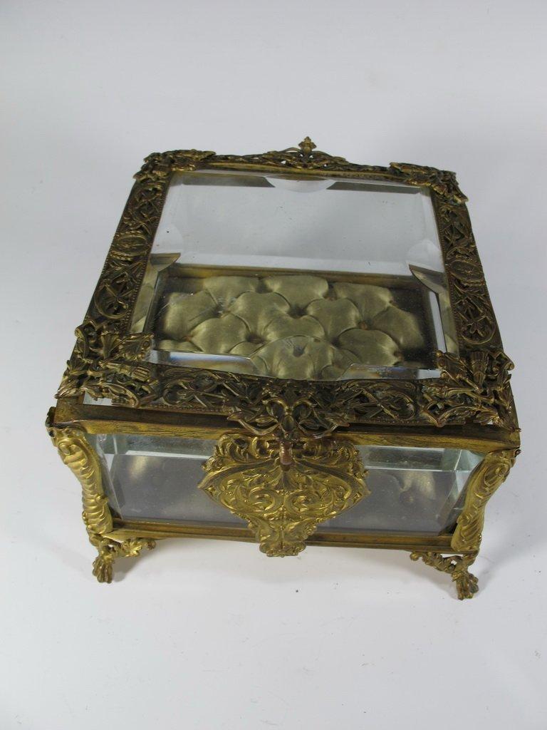 Antique French gilt bronze & bevelled glass box - 2