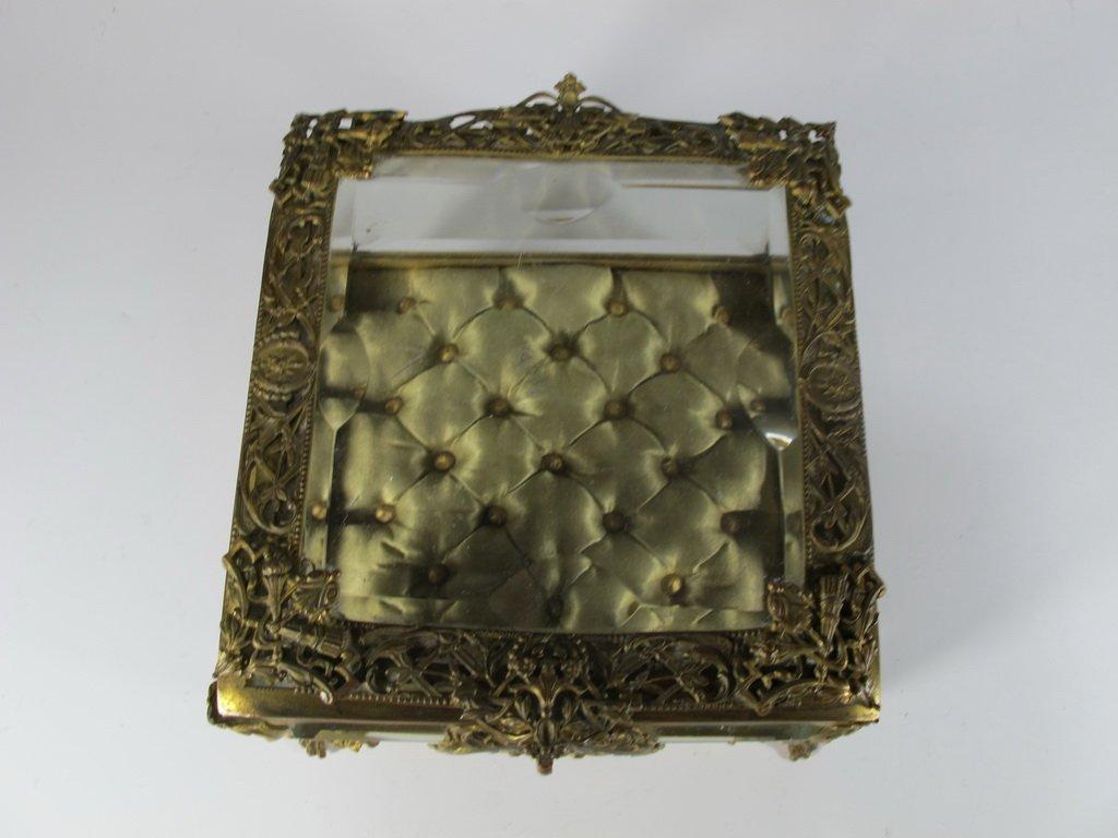 Antique French gilt bronze & bevelled glass box - 3