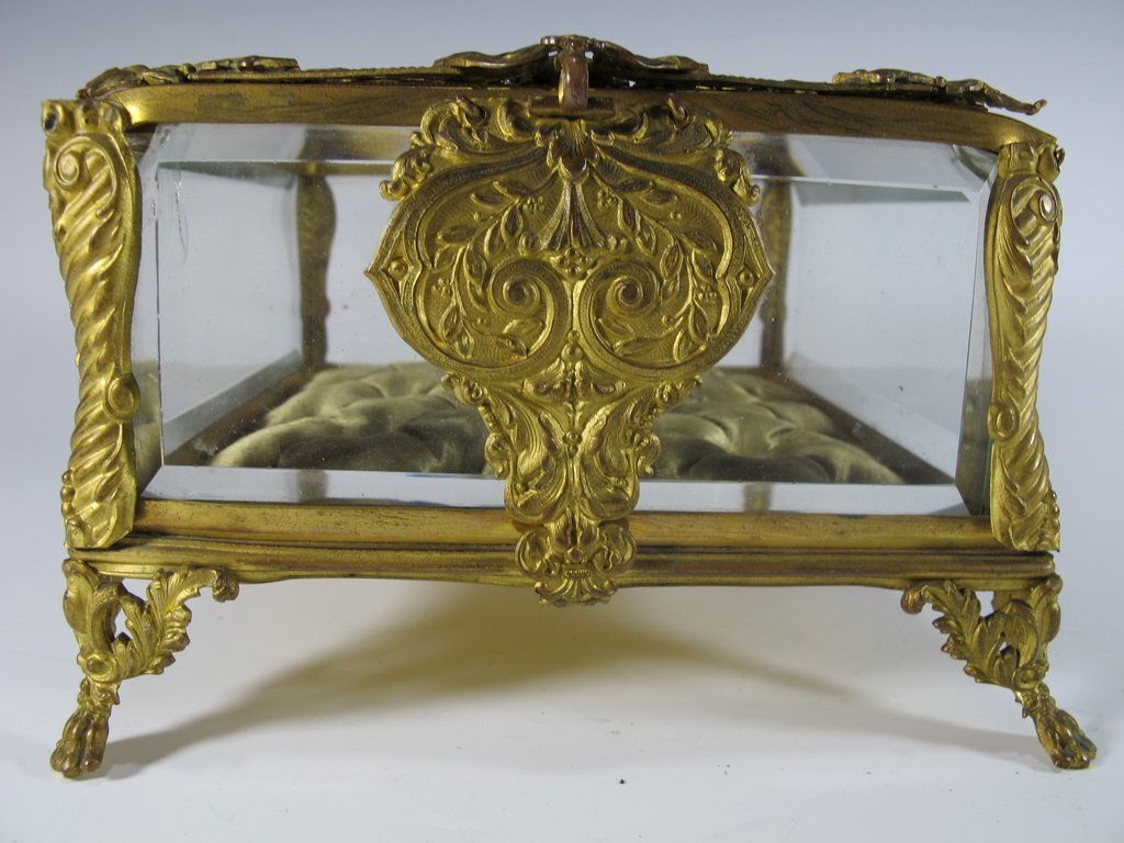 Antique French gilt bronze & bevelled glass box - 4