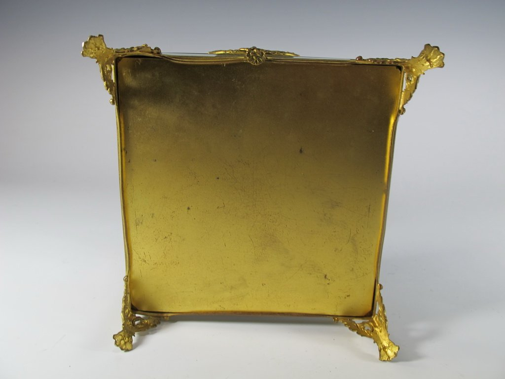 Antique French gilt bronze & bevelled glass box - 6