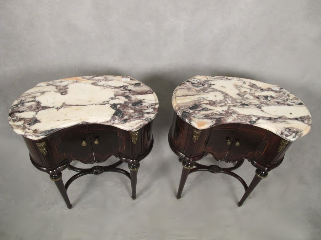 Pair of French Louis XVI kidney shape side tables - 2