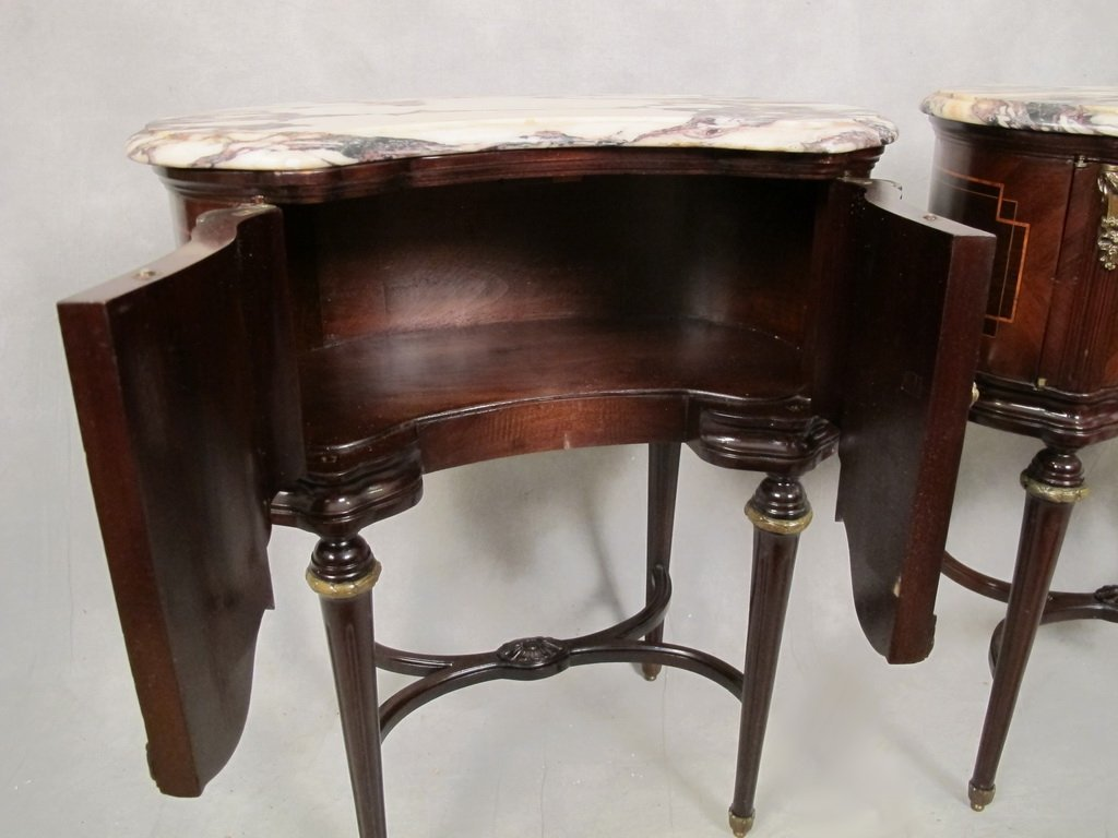 Pair of French Louis XVI kidney shape side tables - 5