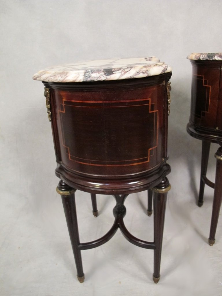 Pair of French Louis XVI kidney shape side tables - 7