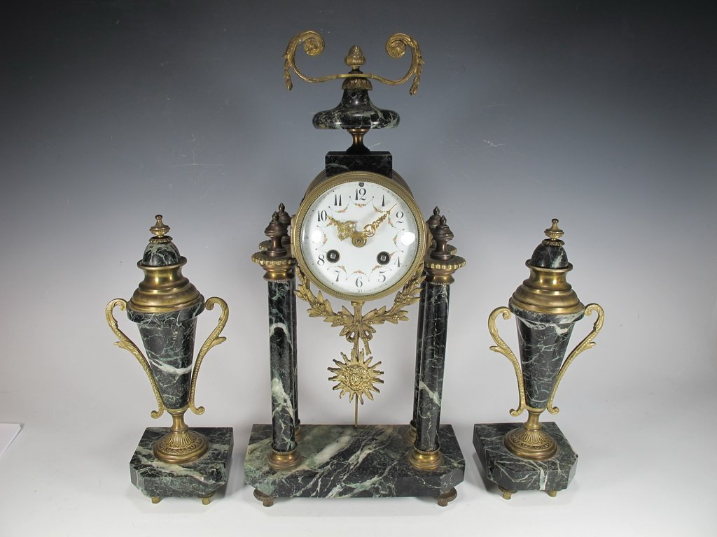 Antique French JUST Mechanical clock set