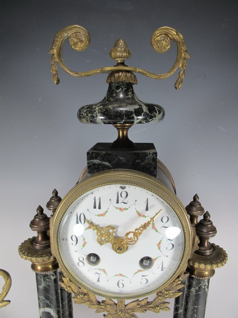 Antique French JUST Mechanical clock set - 2