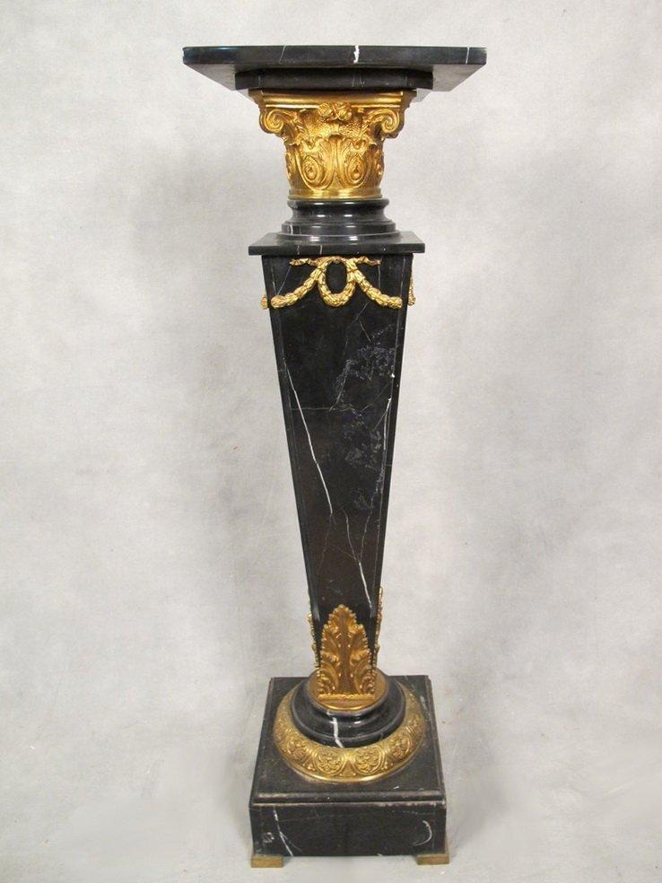Antique French gilt bronze & marble pedestal