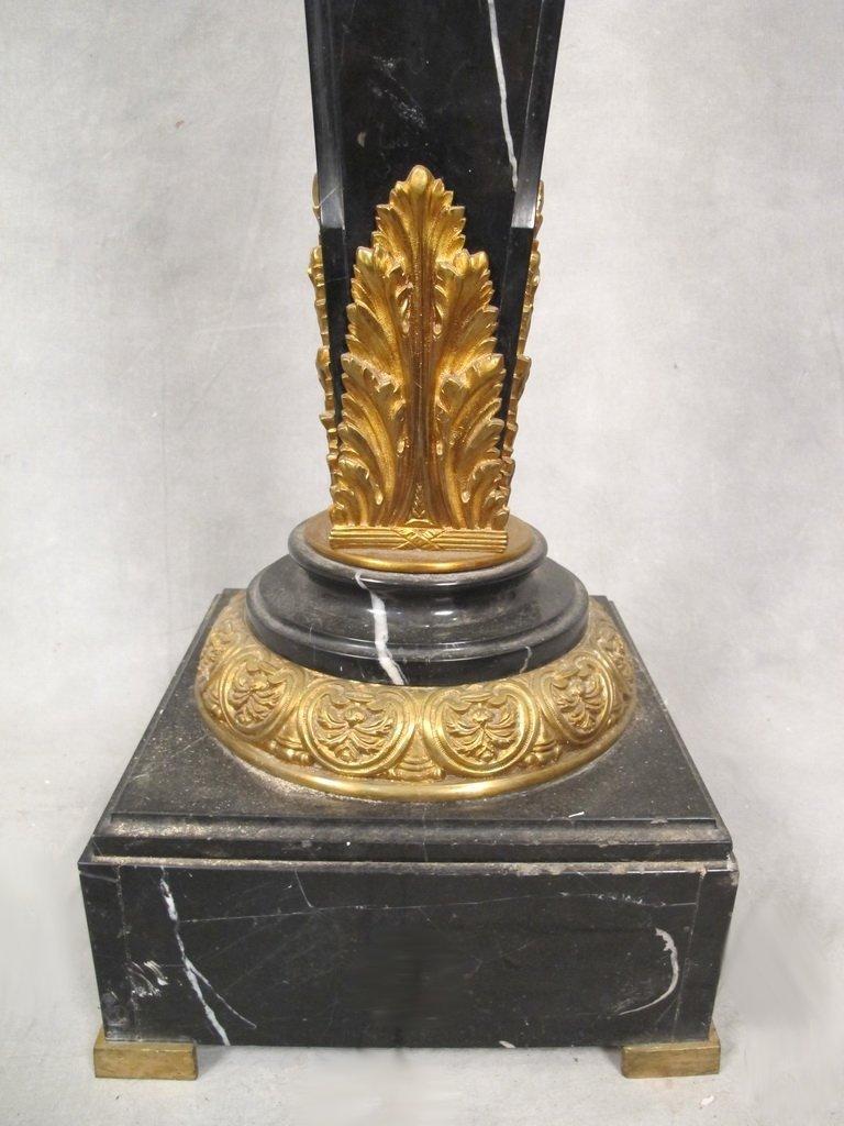 Antique French gilt bronze & marble pedestal - 4