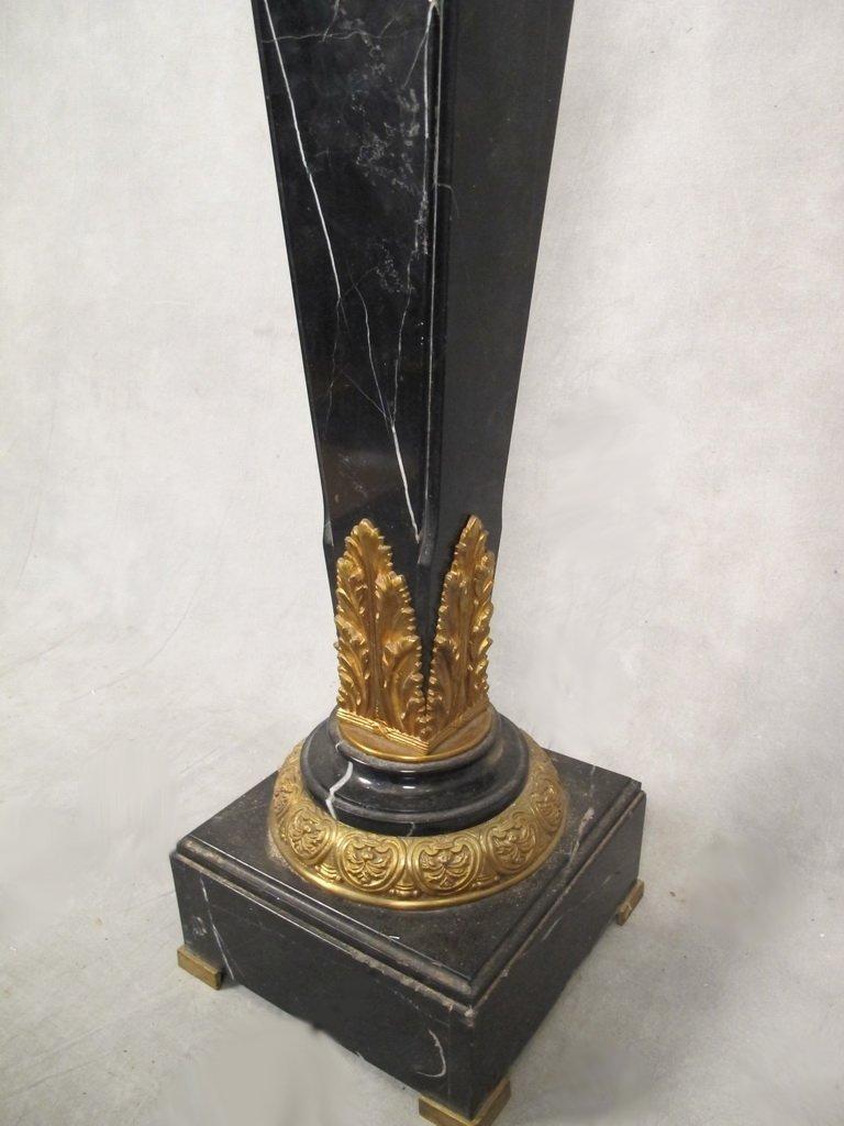 Antique French gilt bronze & marble pedestal - 5