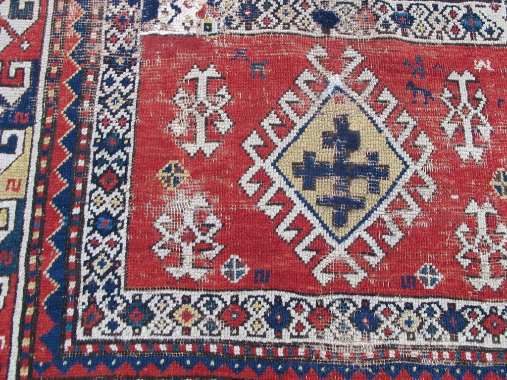 Antique probably Russian rug, dated 1889 - 2