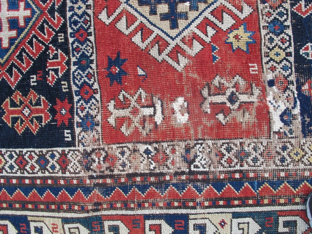 Antique probably Russian rug, dated 1889 - 4