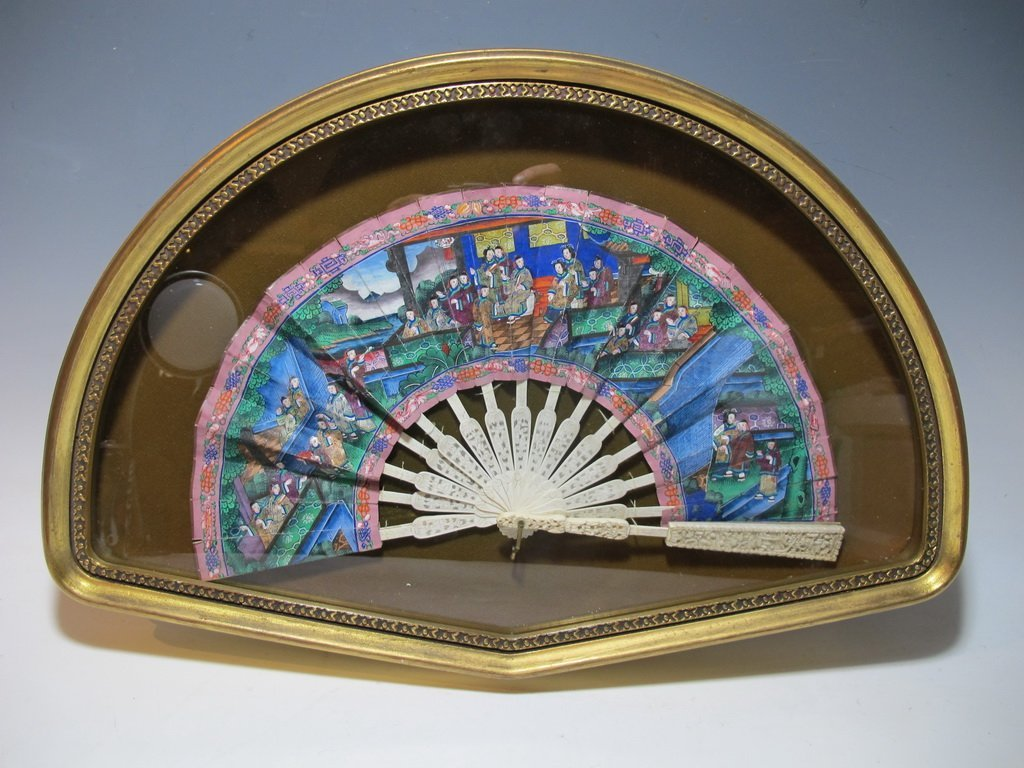 Vintage Chinese hand painted fan in an Italian wood box