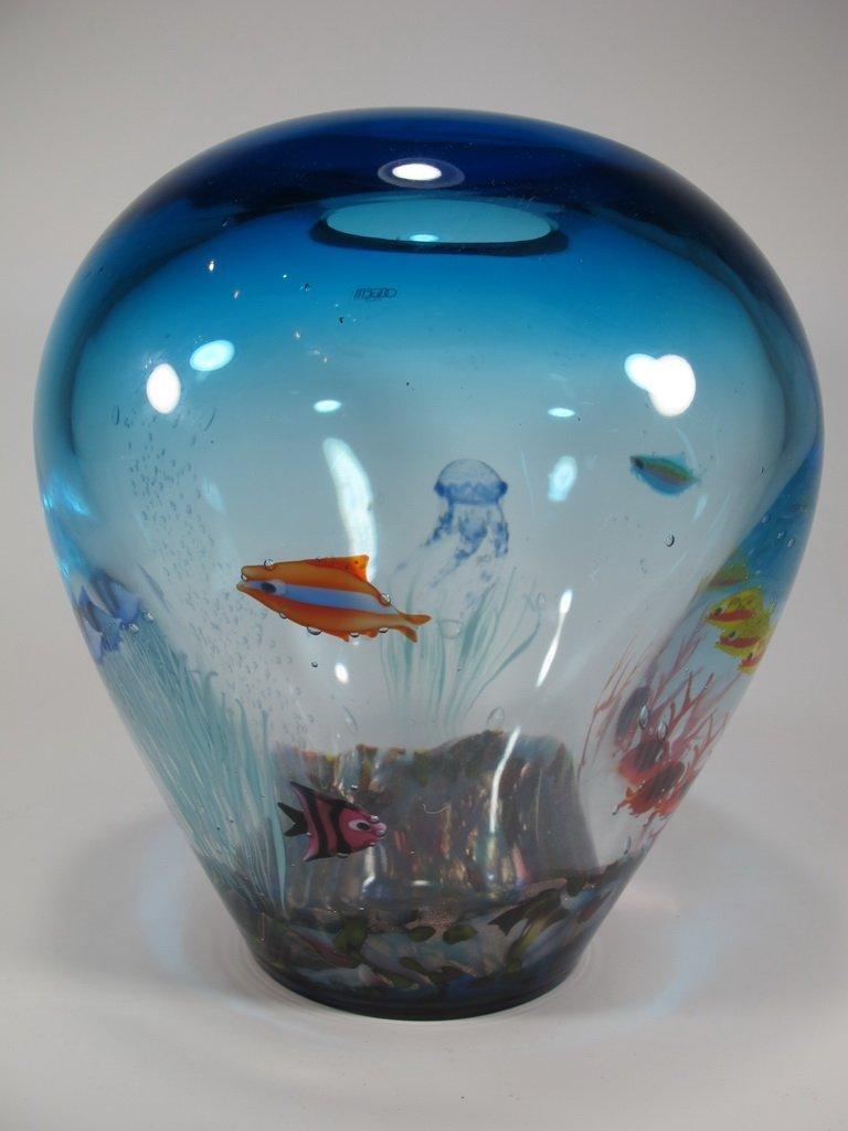 Italian OGGETTI murano glass aquarium vase - 3