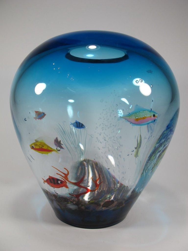 Italian OGGETTI murano glass aquarium vase - 4