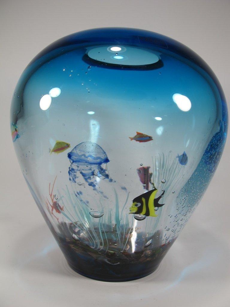 Italian OGGETTI murano glass aquarium vase - 5