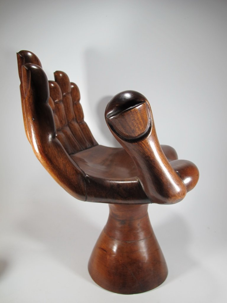 Pedro FRIEDEBERG hand carved wood small chair - 4