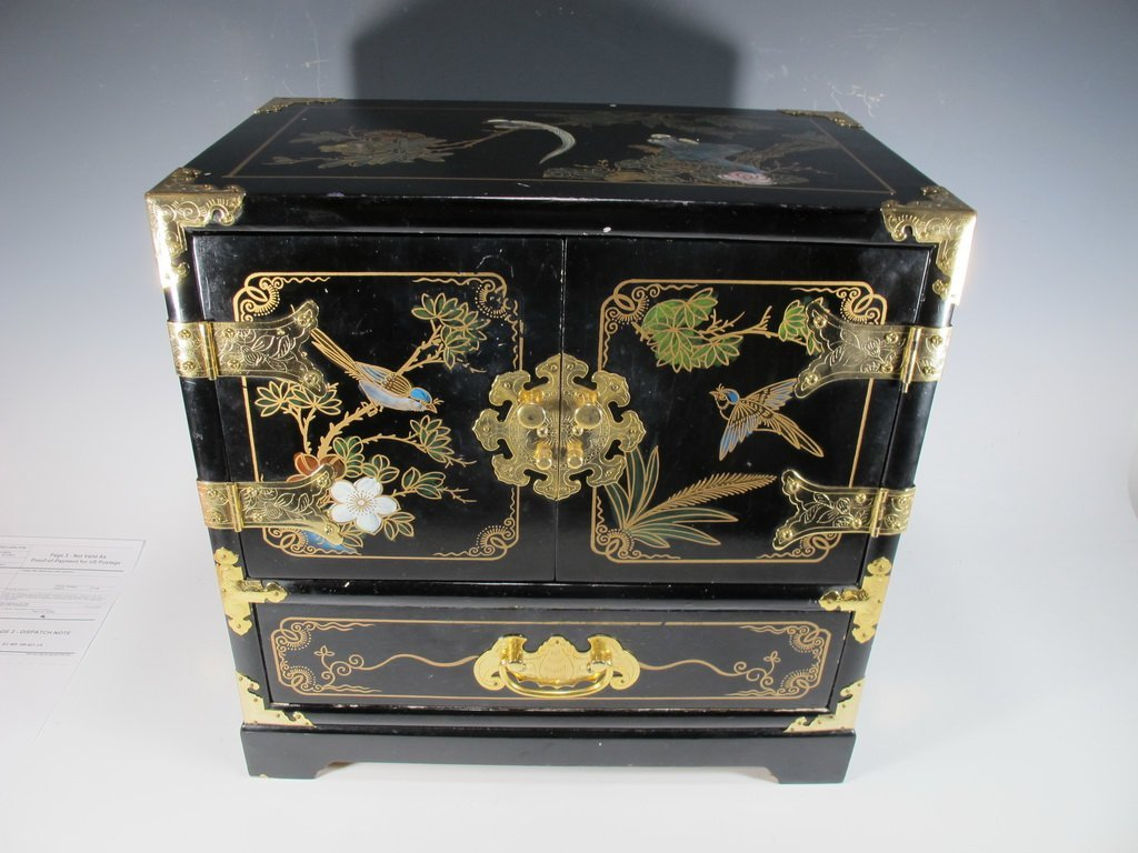 Chinese painted on black lacquer small cabinet