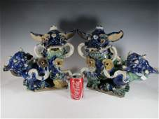 19th C Chinese pair of glazed stoneware roof tiles