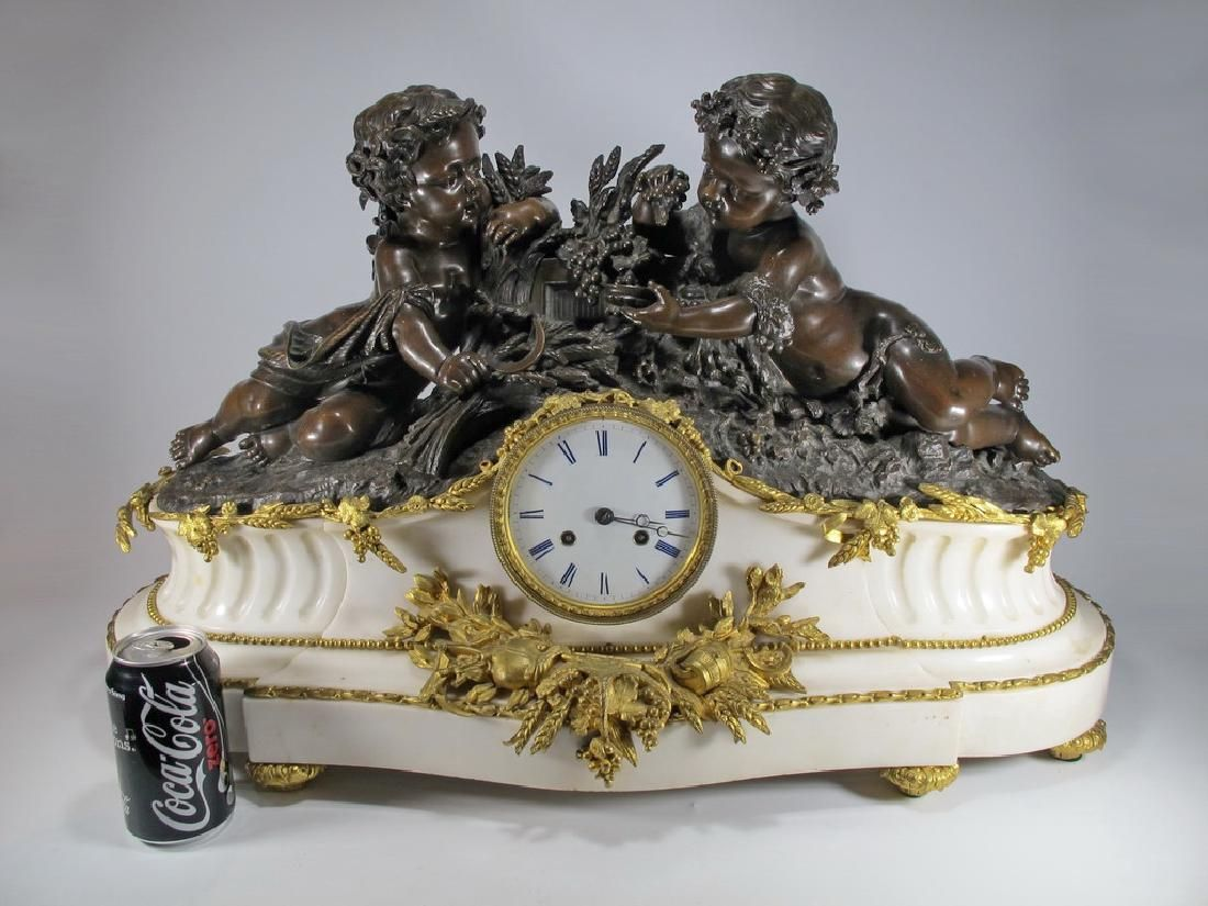 Huge 19th C. French bronze & marble mantle clock