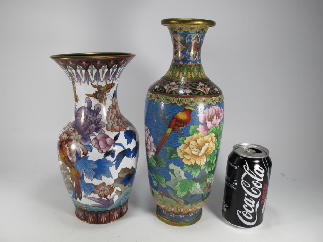2 Vintage Chinese cloisonne vases