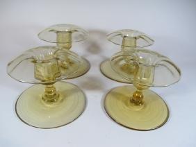 Vintage Set Of 4 Glass Candlesticks