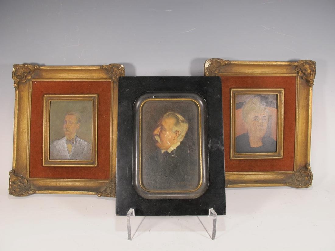 Antique set of 3 portrait oil on board paintings