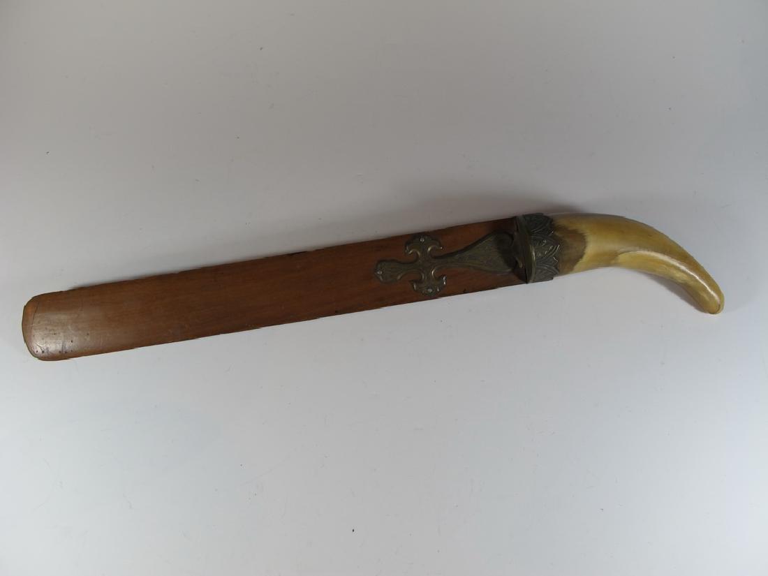 Vintage Asian Horn, bronze & wood spatula